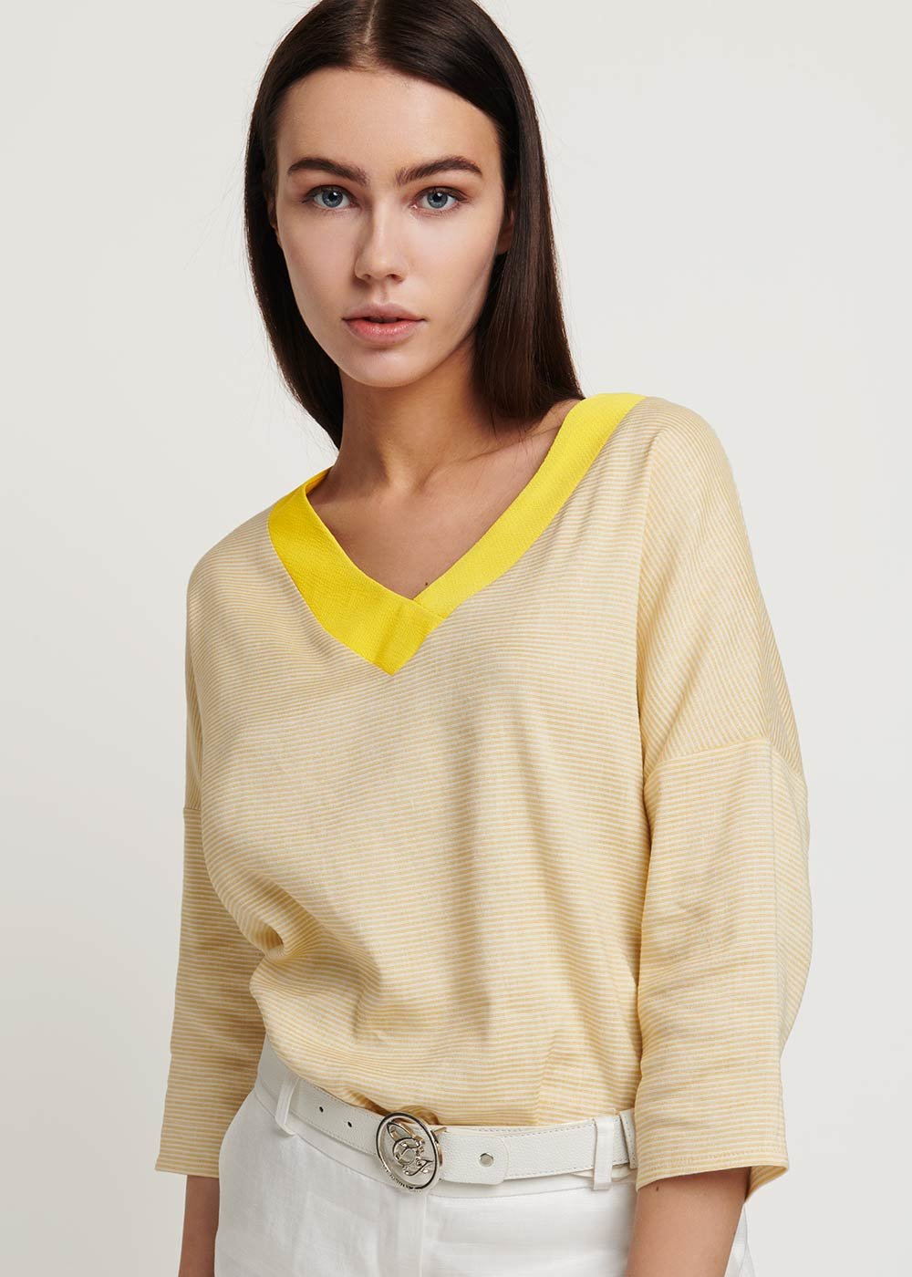 Sowd T-shirt with contrasting border - Sole \ White Stripes - Woman
