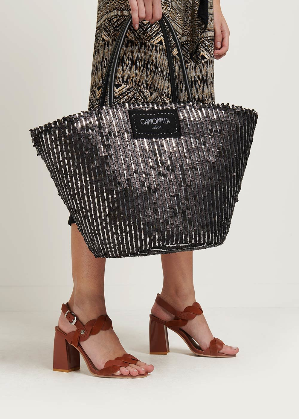 Bail straw bag with sequins - Black - Woman