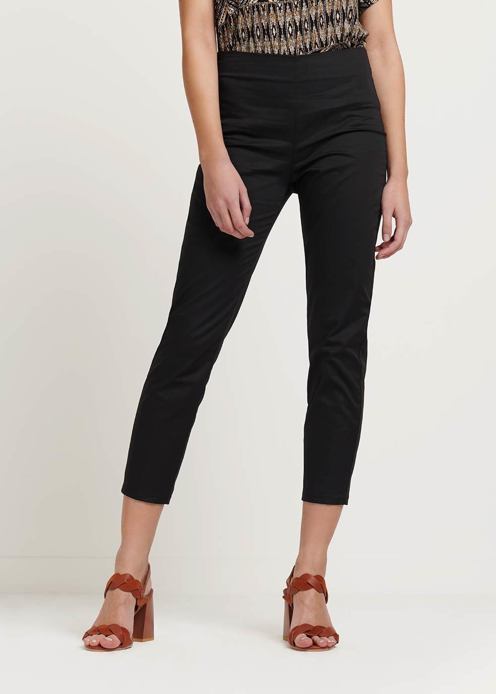 Claudia capri pants with side zipper - Black - Woman