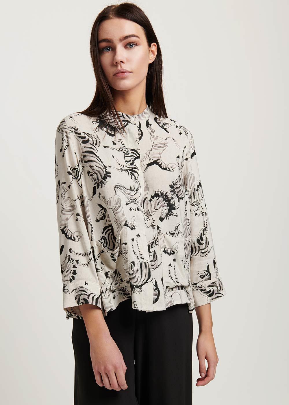 Cynd shirt with zebra print - Beige \ Black Fantasia - Woman
