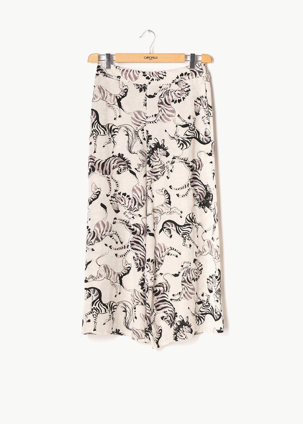 Megan capri pants with zebra print - Beige \ Black Fantasia - Woman