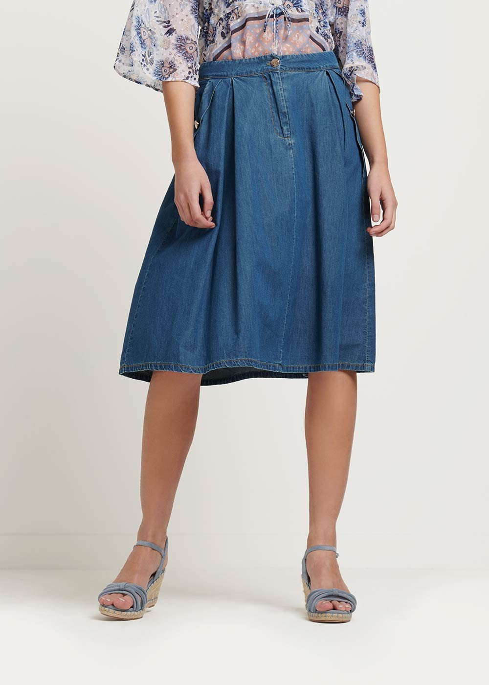 Glenda denim cotton skirt - Denim - Woman