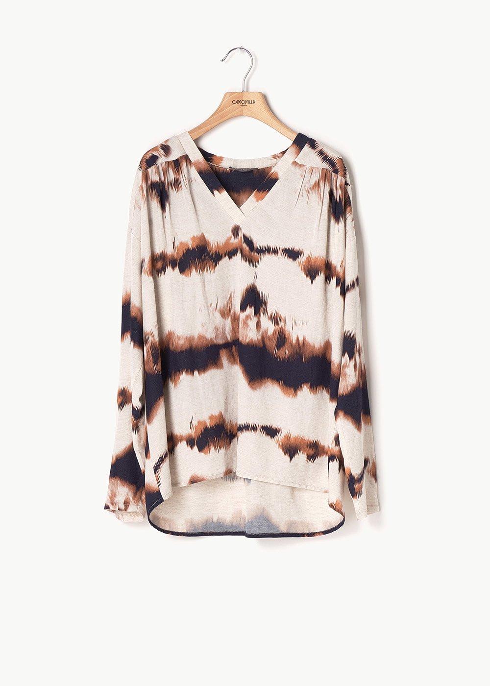 Shannon coordinated T-shirt - L.beige\ Coccio Fantasia - Woman