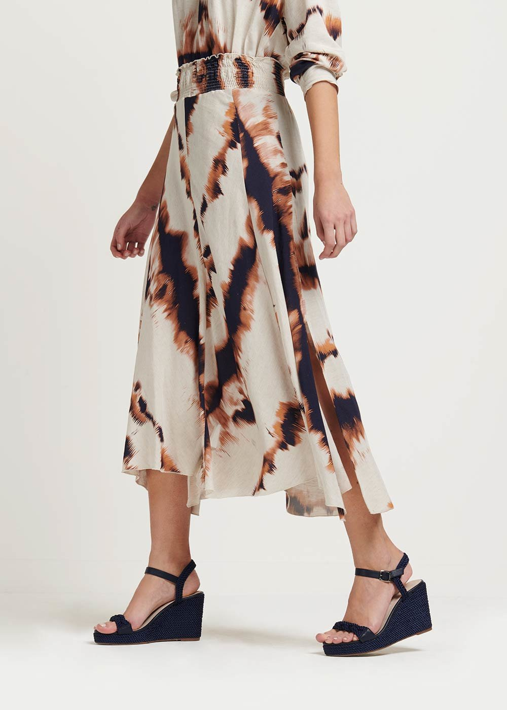 Genny matching long skirt - L.beige\ Coccio Fantasia - Woman
