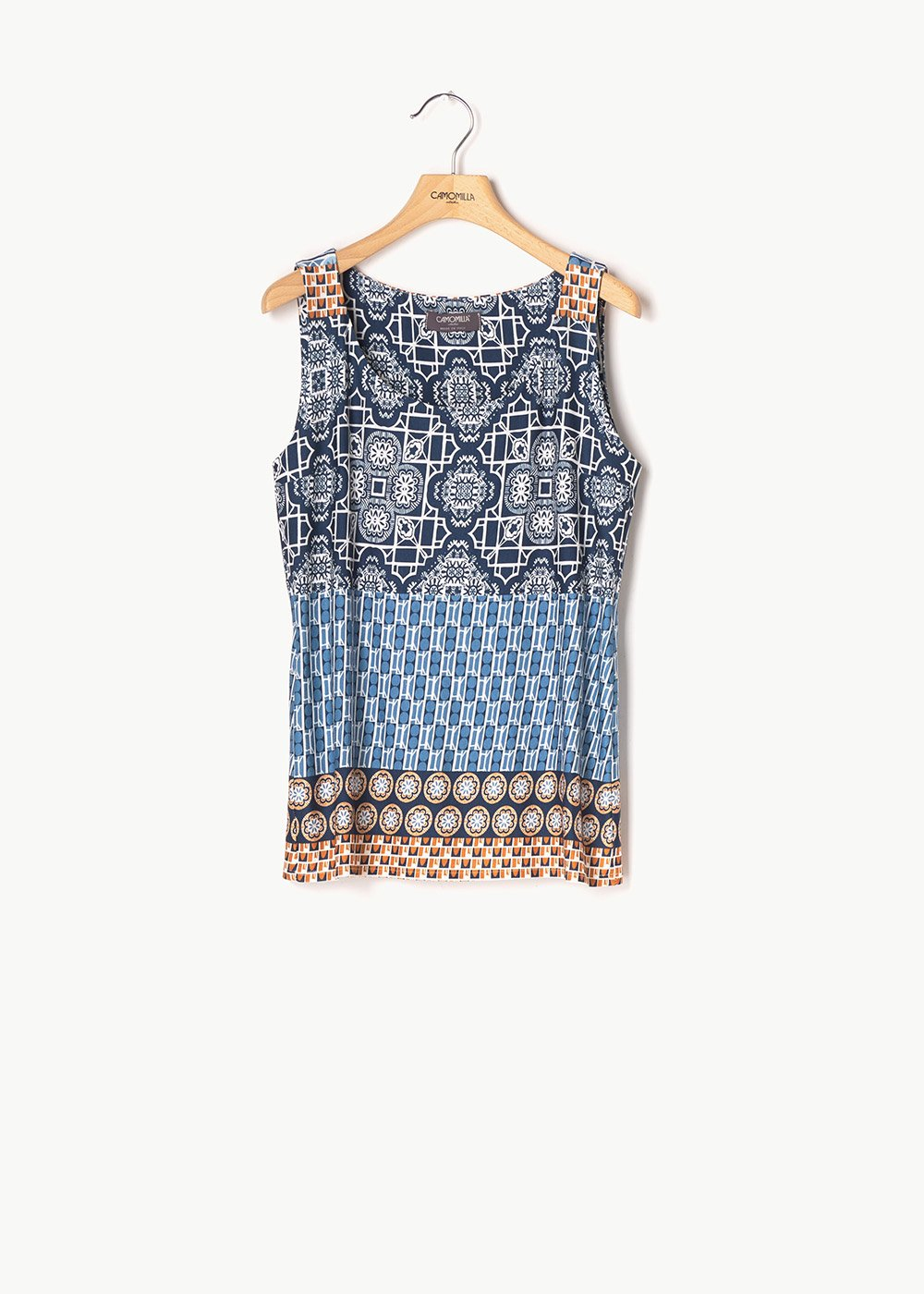 Rita sleeveless patterned top - Medium Blue \ Cacao - Woman