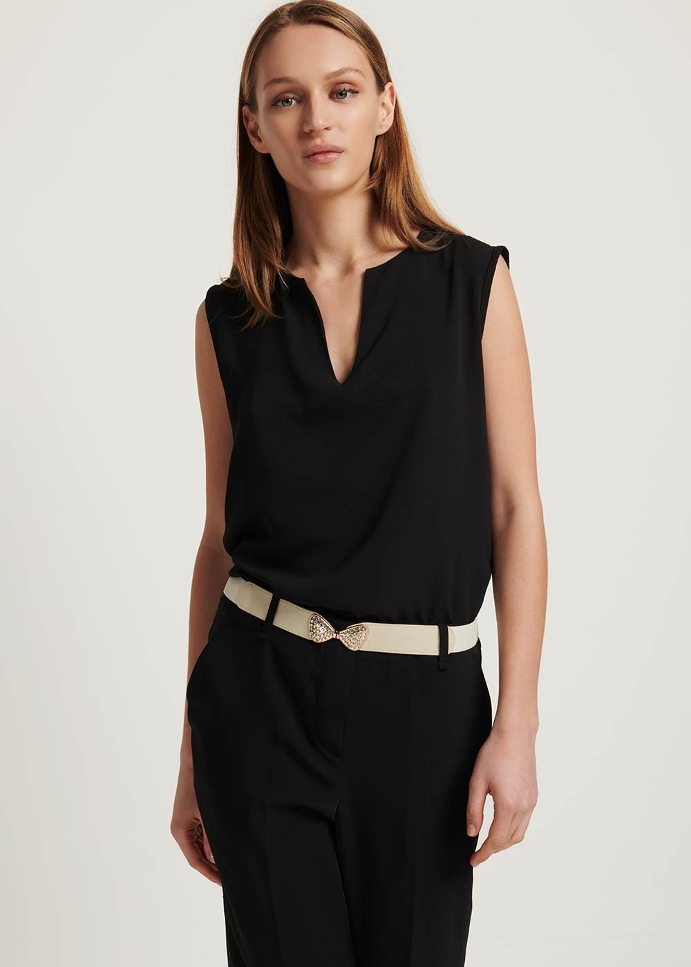 Theodor sleeveless basic top - Black - Woman