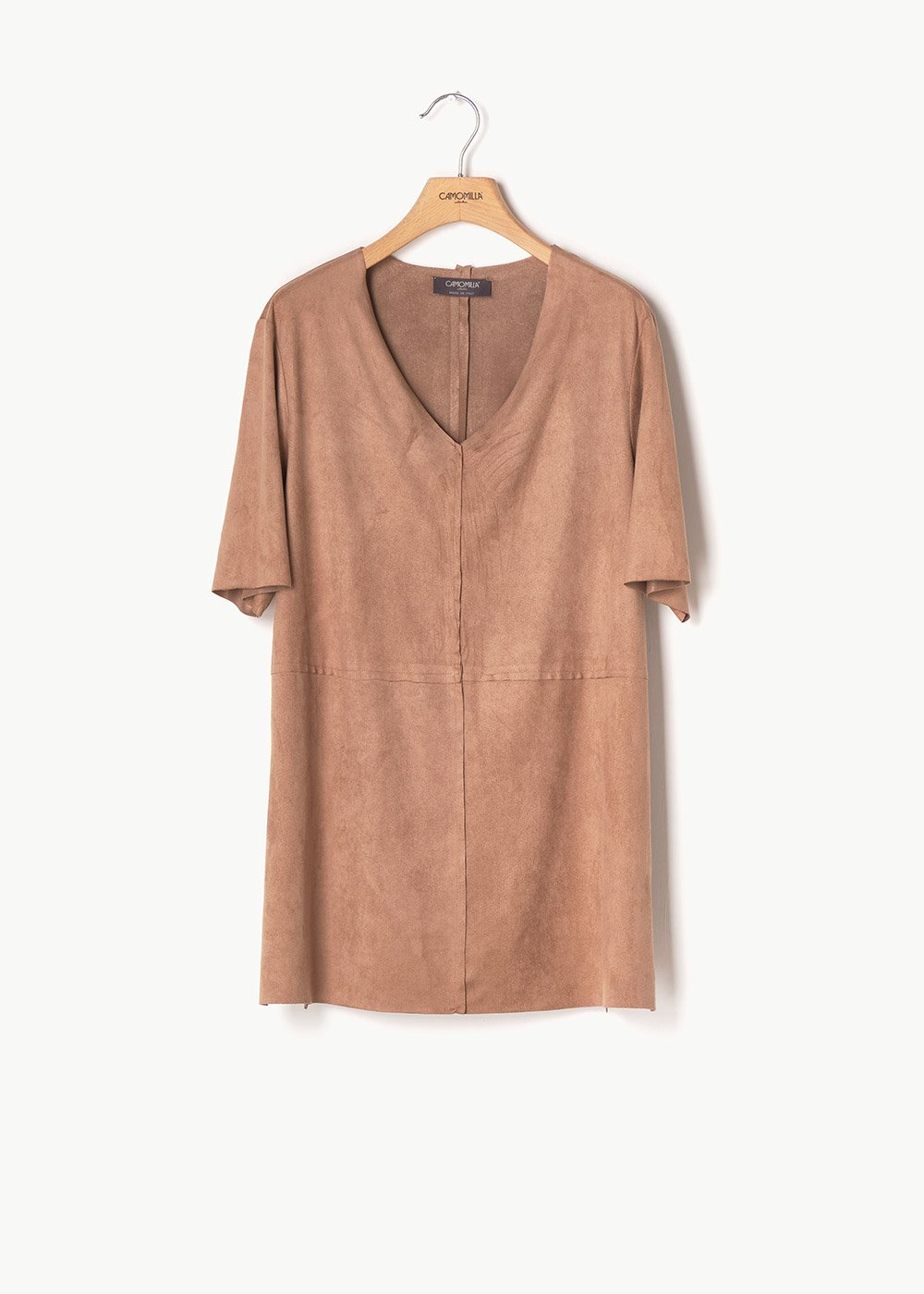 Sharil faux-suede T-shirt with alcantara effect - Pecan - Woman