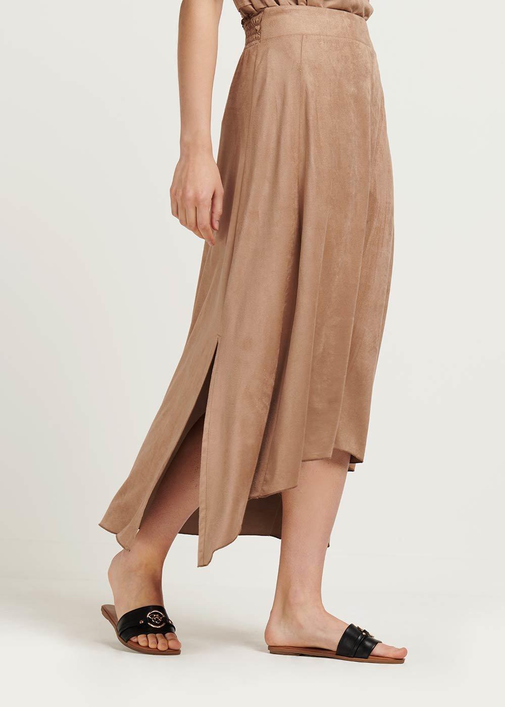 Gabi faux-suede skirt with alcantara effect - Pecan - Woman