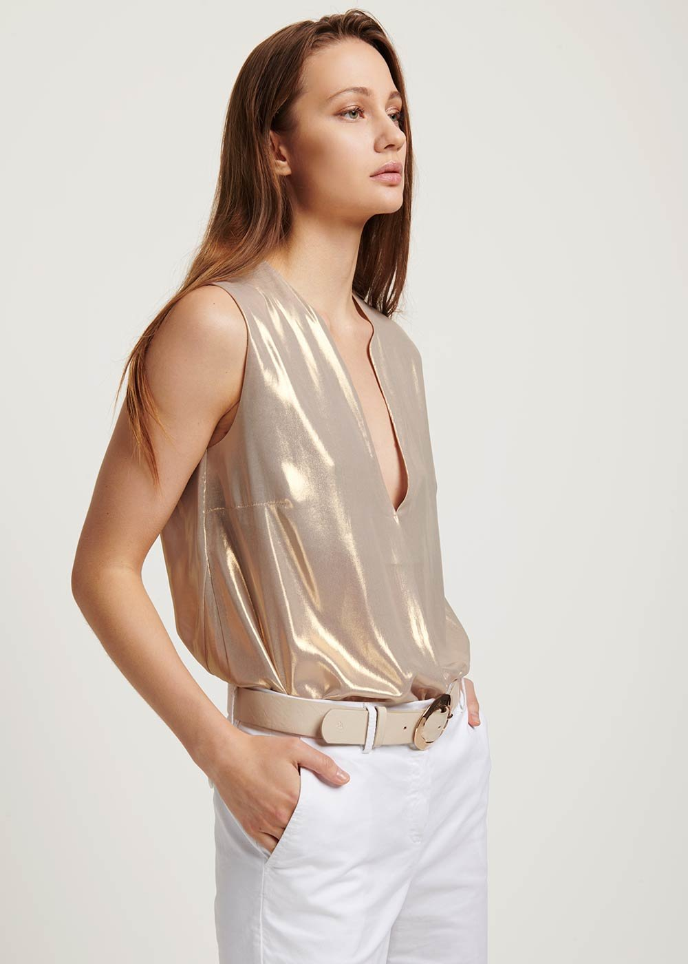 Tom laminated top - Gold - Woman