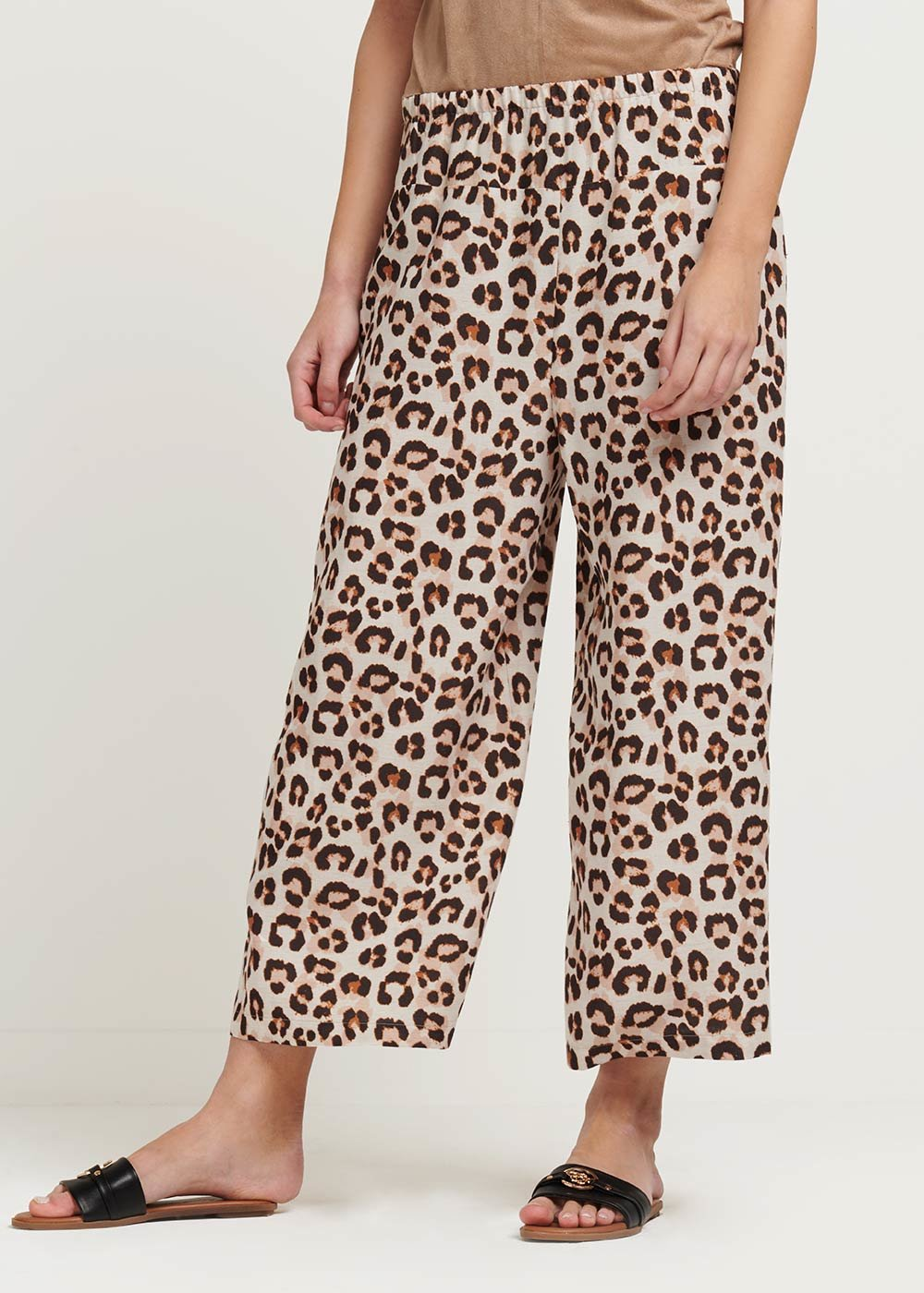 Megan capri pants with spotted print - L.beige\ Coccio Fantasia - Woman