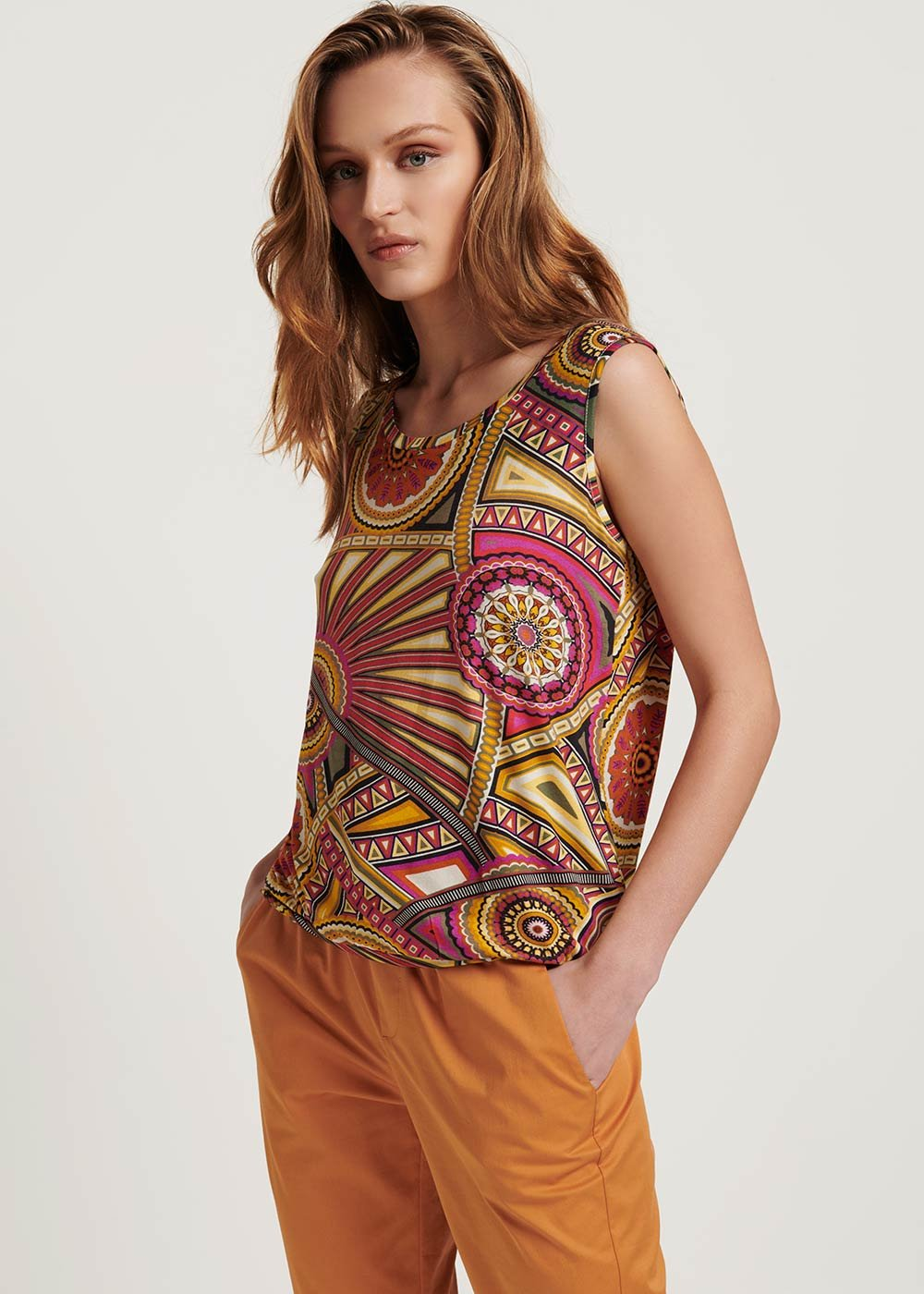 Maria sleeveless patterned top - Aragosta / Timo Fantasia - Woman