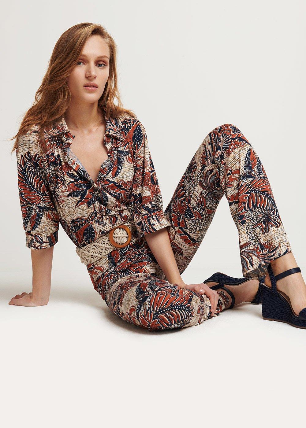 Sammy patterned T-shirt - L.beige \ cannella Fantasia - Woman