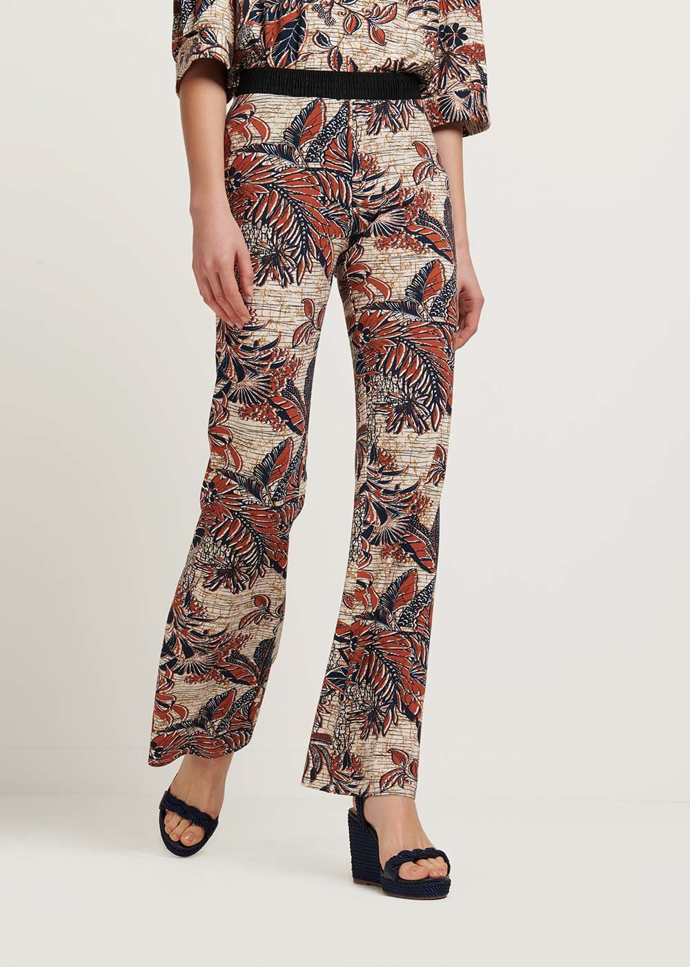 Pedros trousers with Ethiopian print - L.beige \ cannella Fantasia - Woman