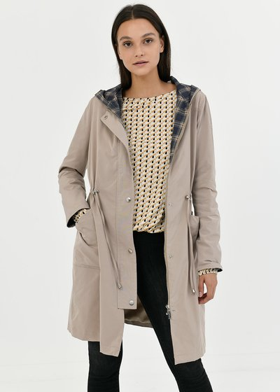 Trench coat in technical fabric with hood