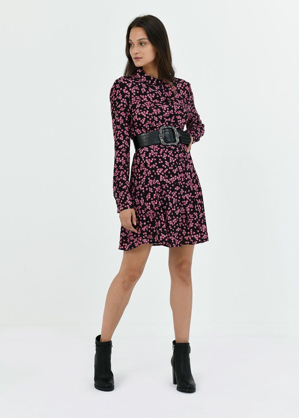 Alain dress with flower print - Black / Gloss Fantasia - Woman