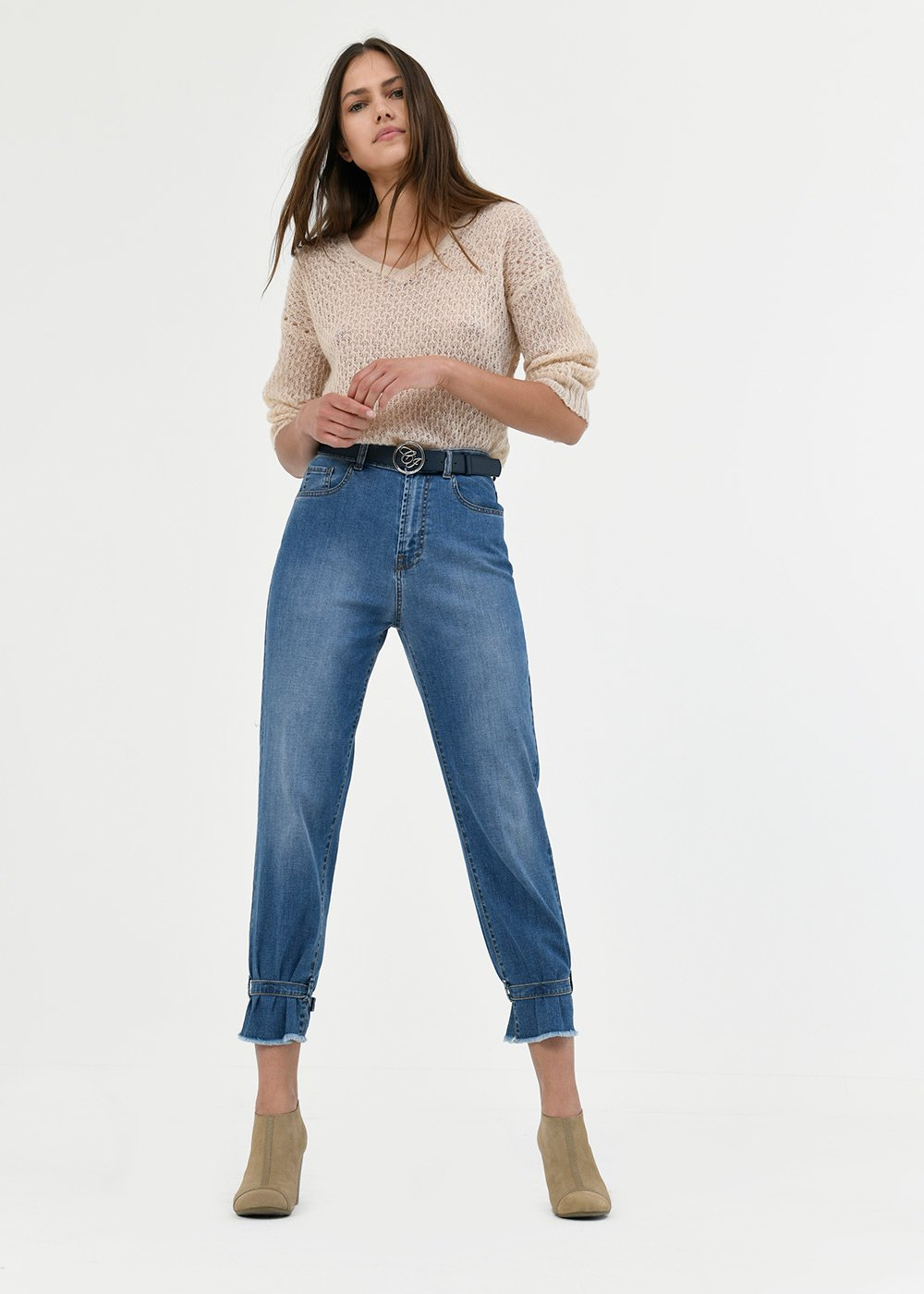 denims with buckle hem - Denim - Woman