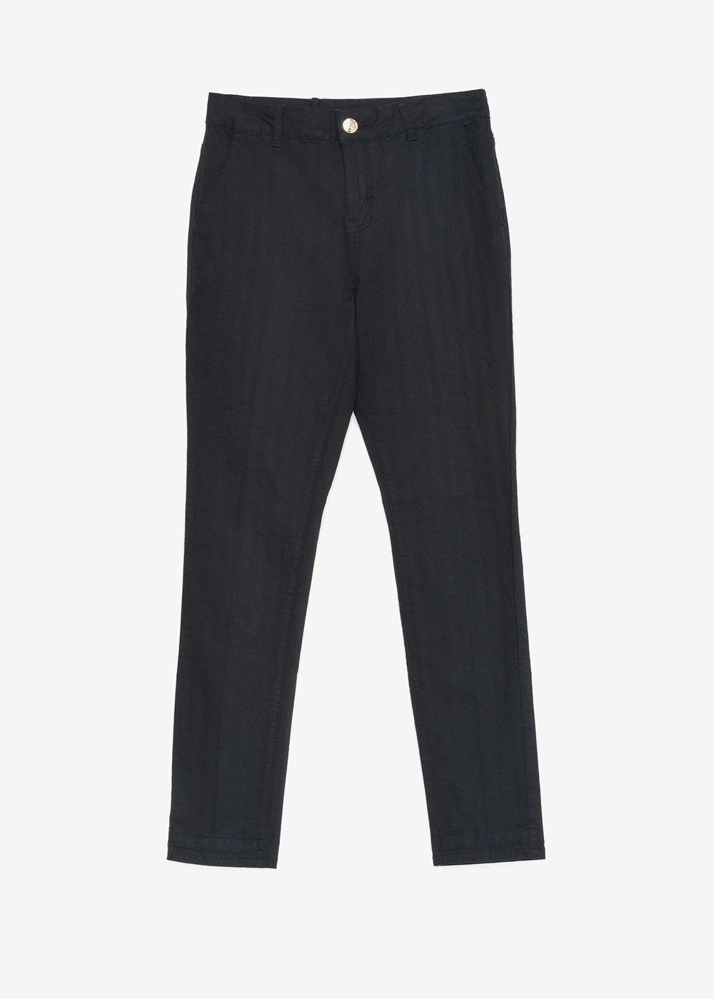 Slim-leg cotton blend trousers - Black - Woman