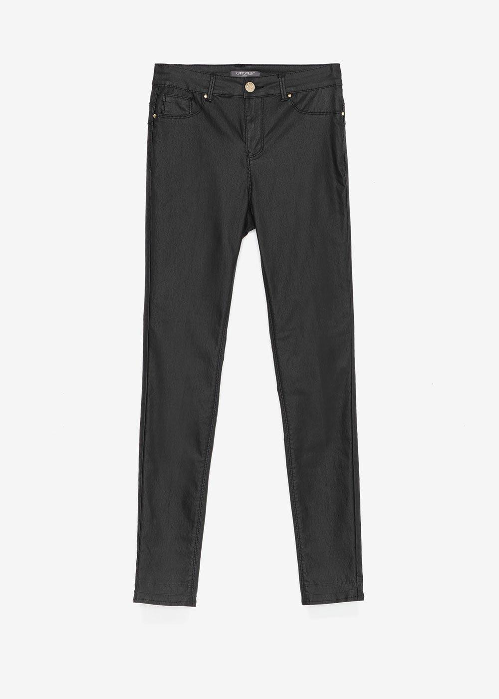 Pantalone Portos skinny fake pelle - Black - Donna