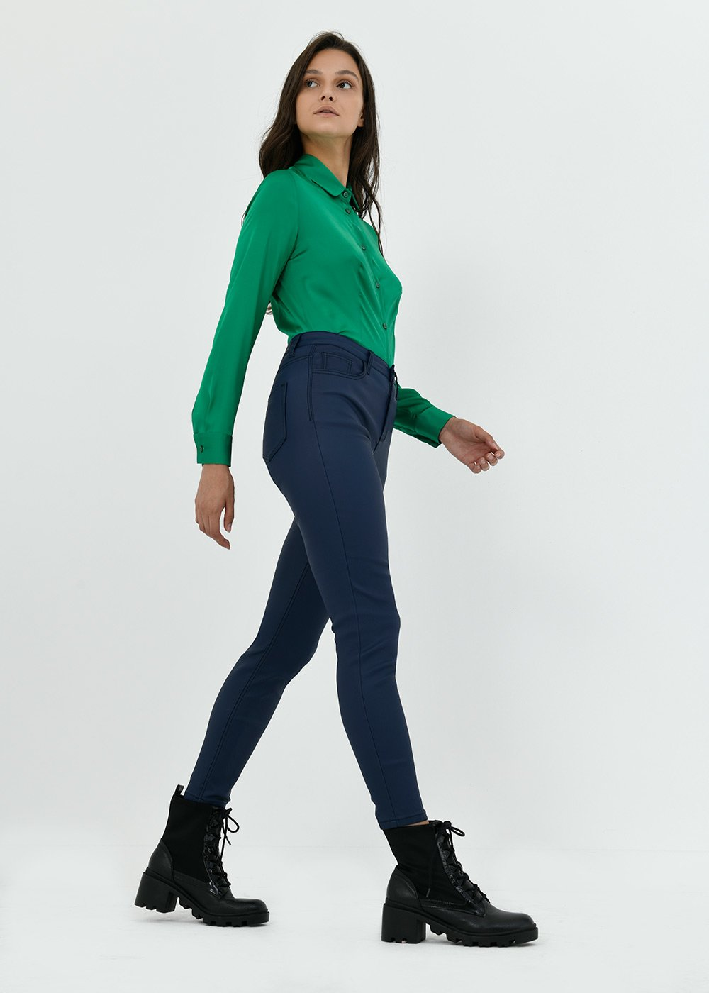 Skinny trousers with faux-leather effect - Medium Blue - Woman