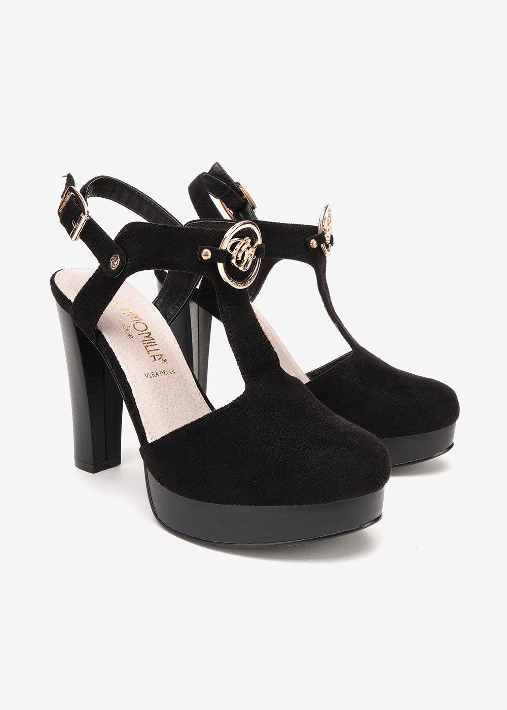 Shin semi-opened shoe with buckle - Black - Woman