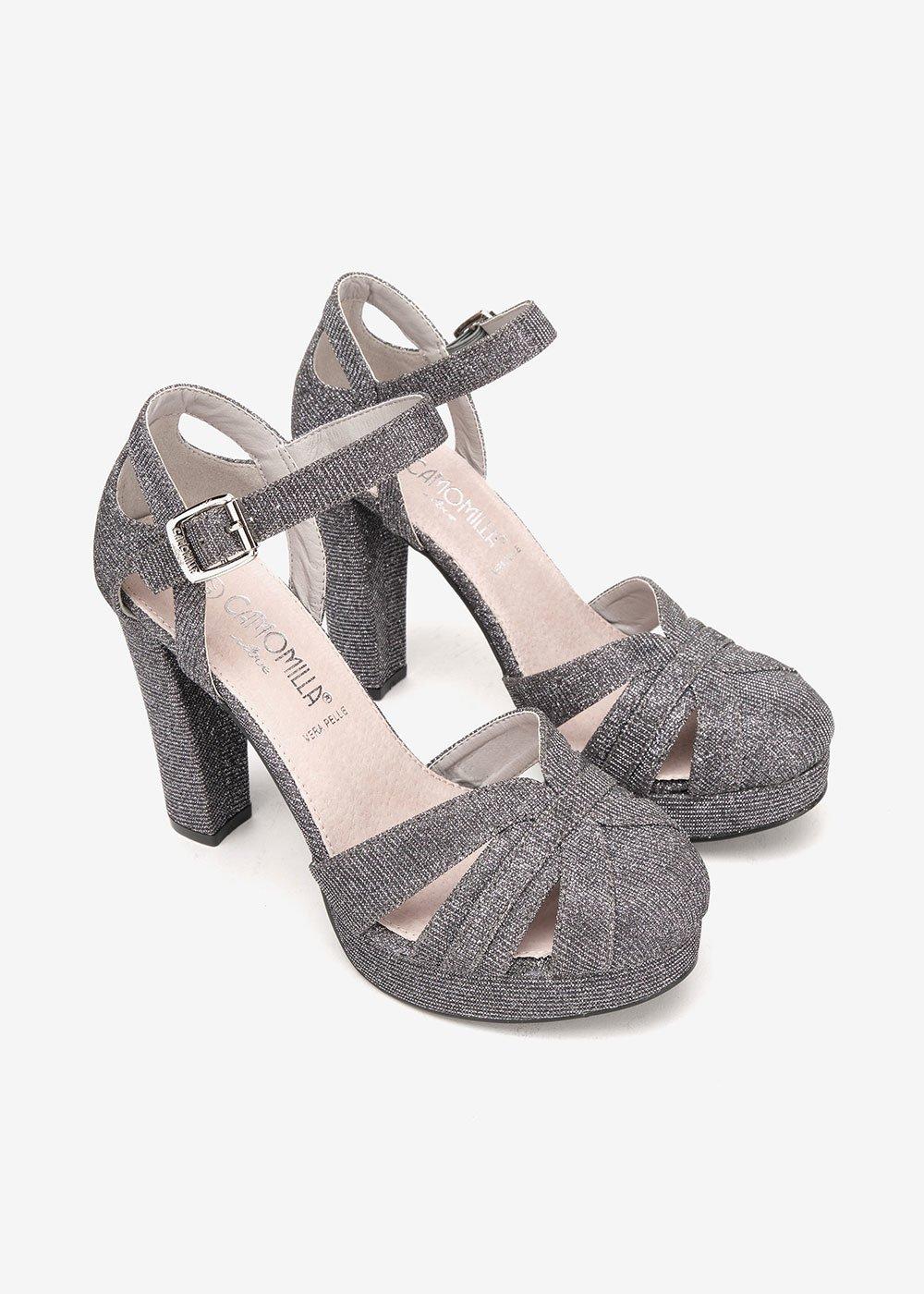 Sandalo Skype con brillantini - Gun Metal - Donna