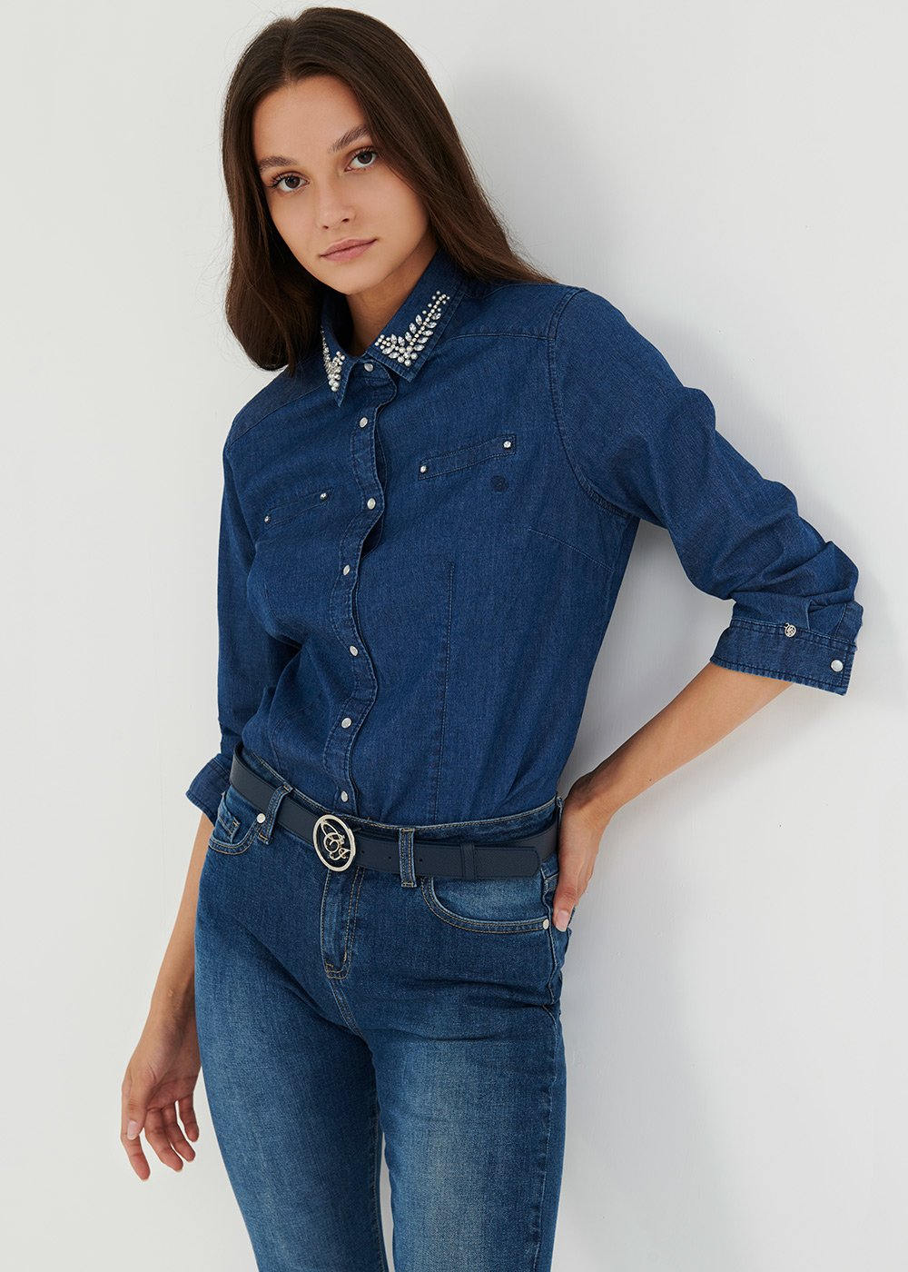 Denim shirt with rhinestones on the collar - Denim - Woman