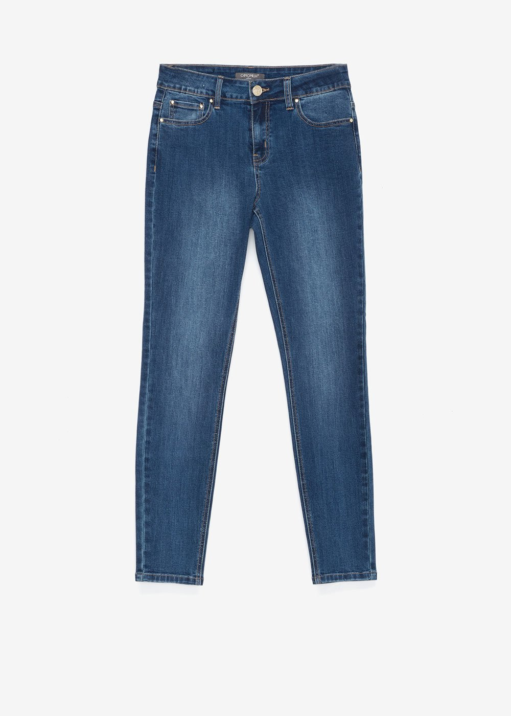 Skinny jeans with gold details - Denim - Woman