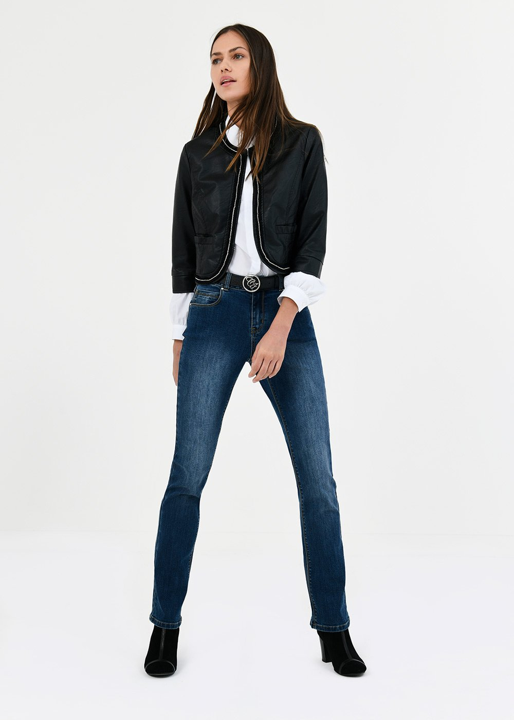 Straight-leg denims with gold details - Denim - Woman