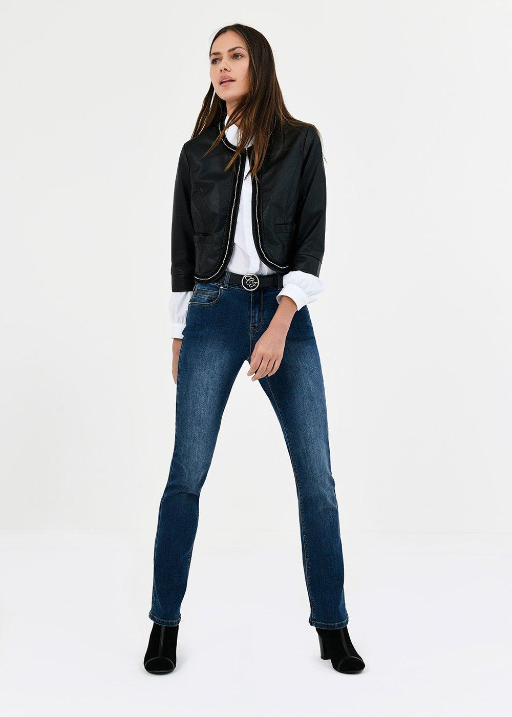 Straight-leg denims with gold details - Denim - Woman