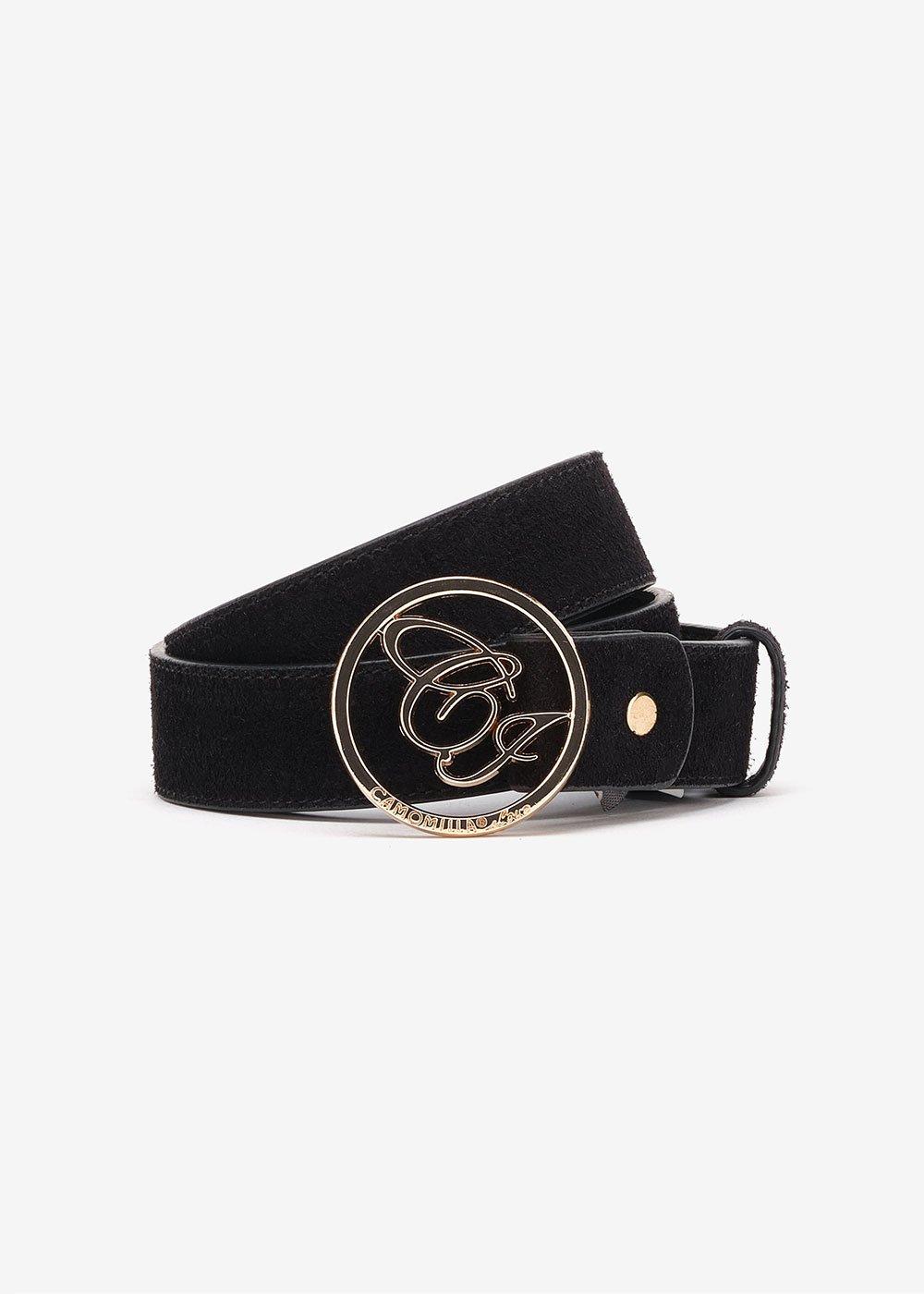 Cintura Candys in camoscio con logo CI - Black - Donna