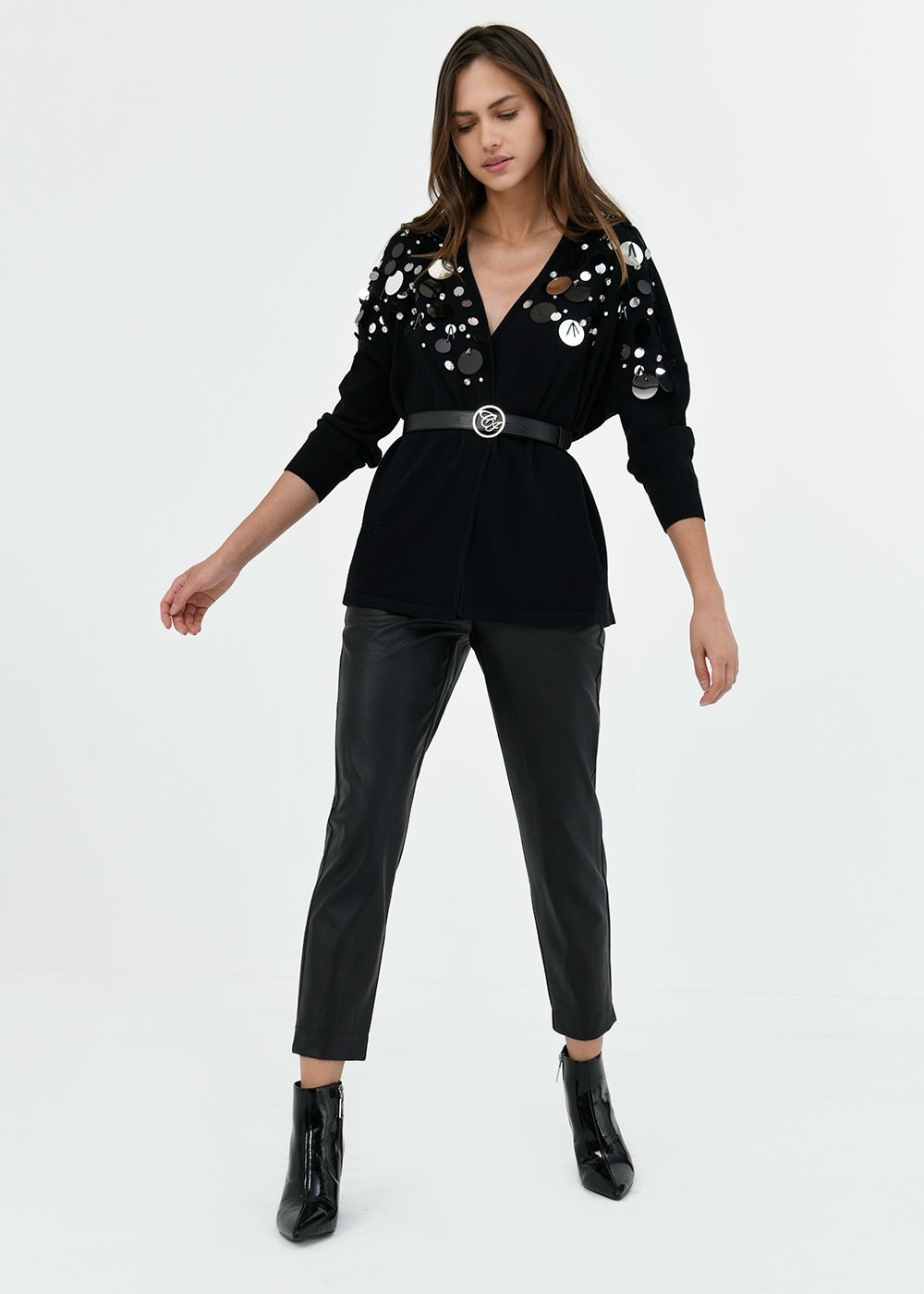 Cassy cardigan with maxi sequins - Black - Woman