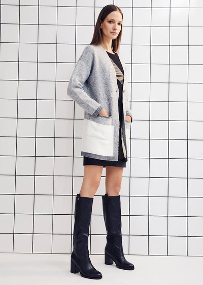 Oversized long knit cardigan with patch pockets