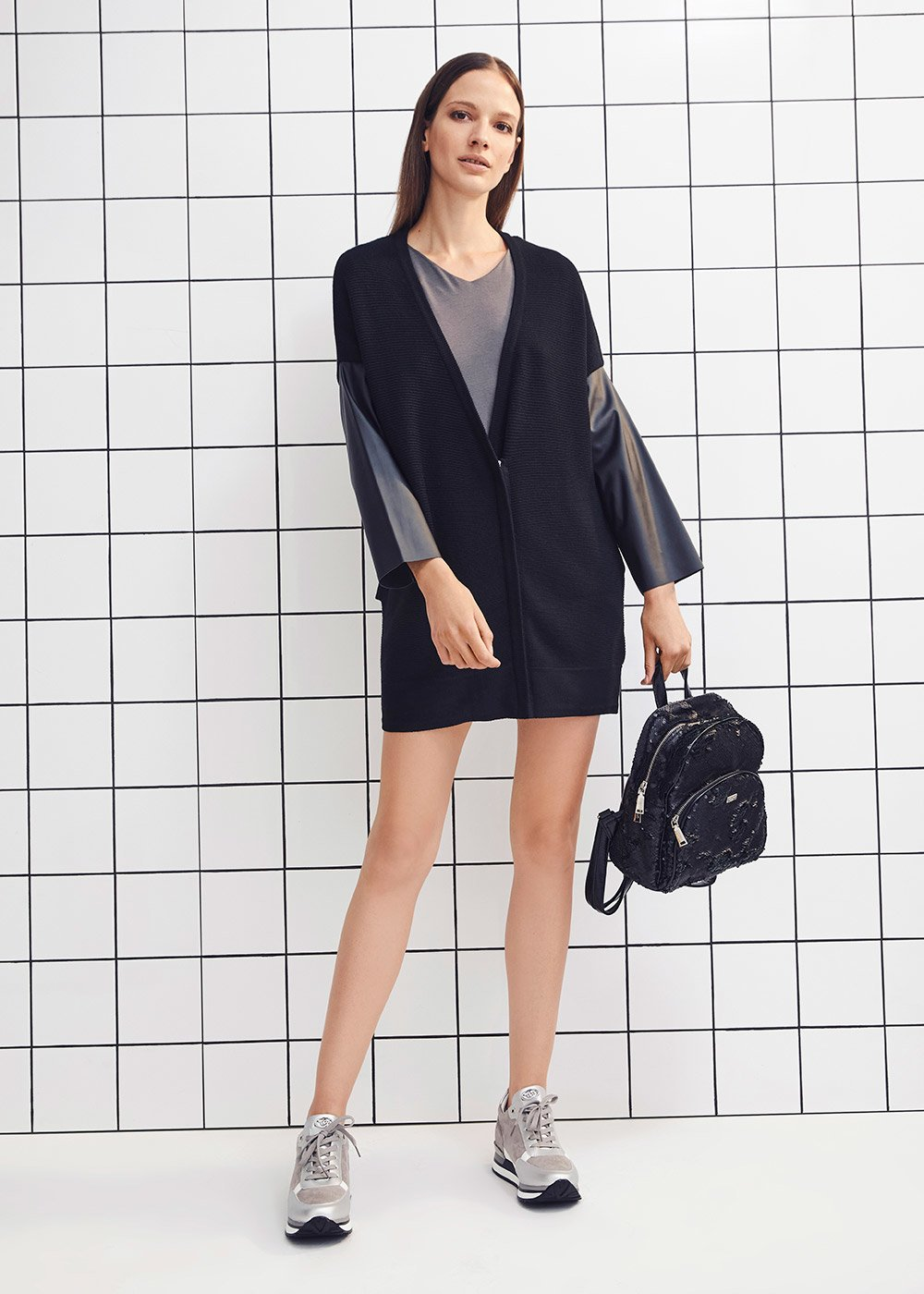 V-neck cardigan with contrasting faux-leather sleeves - Black - Woman
