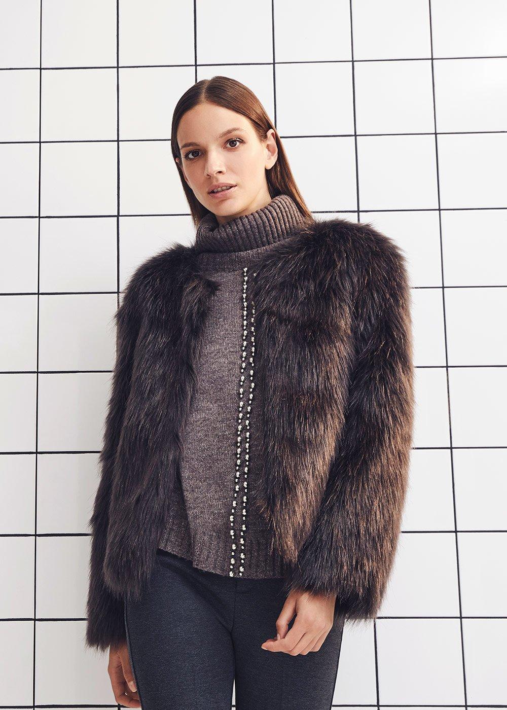 Garys crew-neck faux fur coat - Metal - Woman