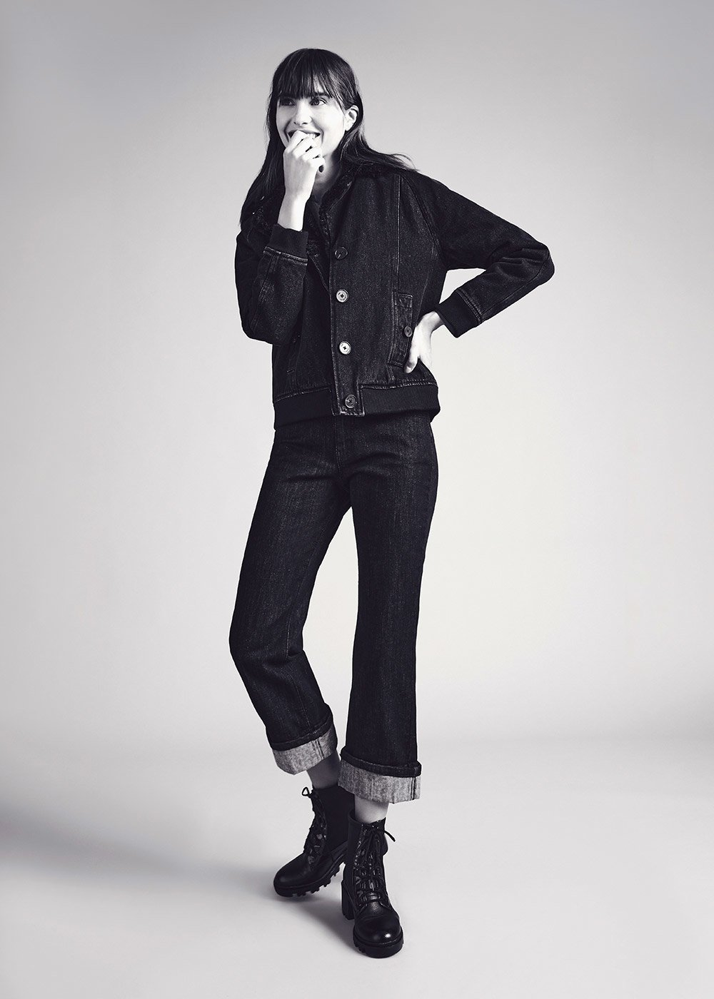 Gyon denim jacket with contrasting fur - Black - Woman