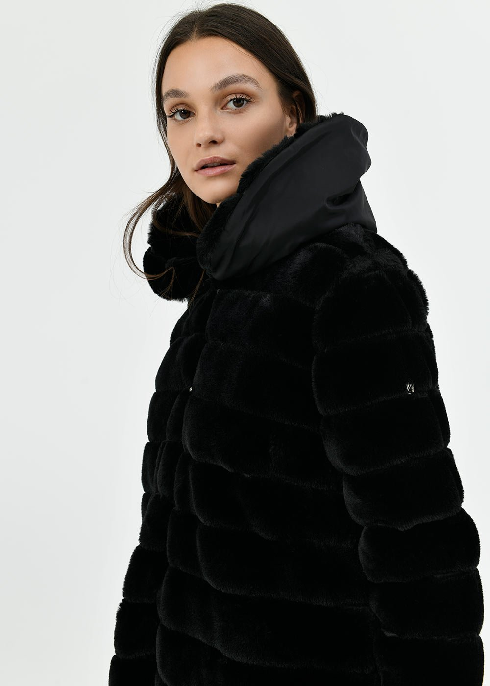 Faux-fur jacket with striped effect - Black - Woman