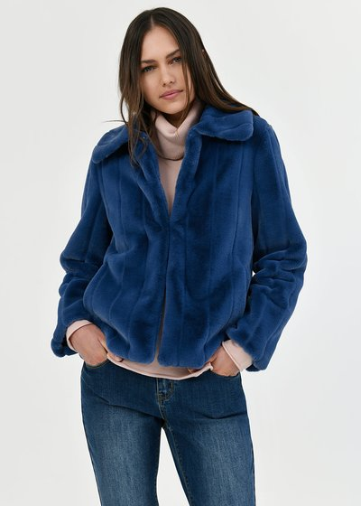 Grys faux fur coat with collar