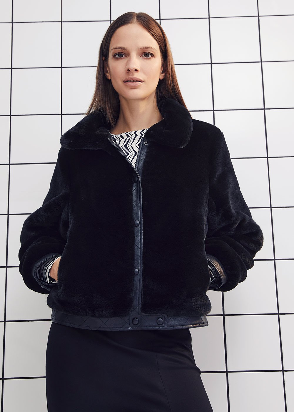 Glyn faux-fur jacket - Black - Woman