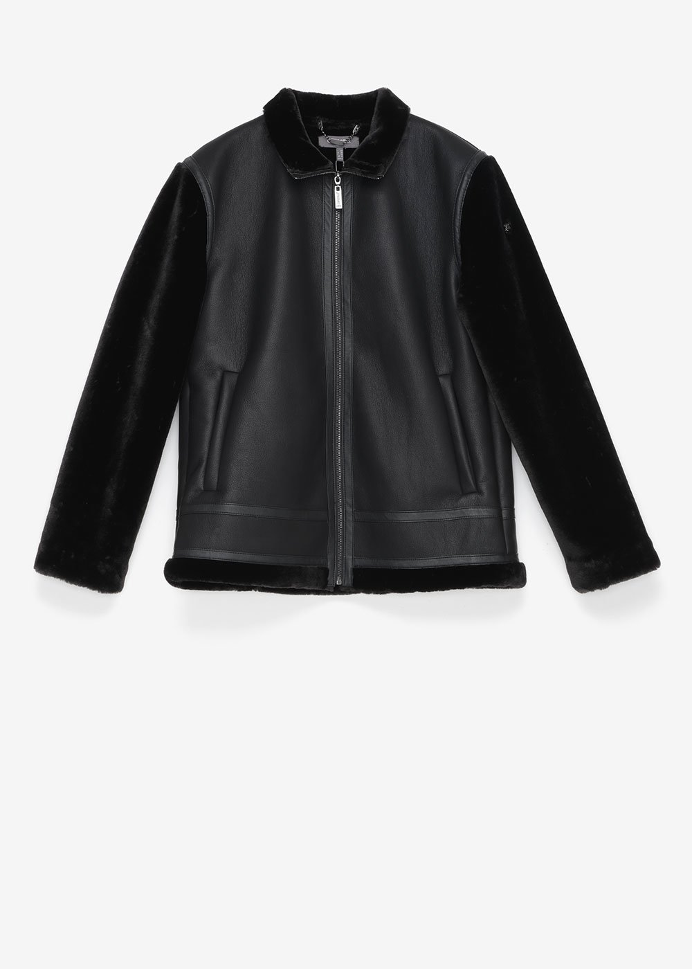 Faux-leather jacket with faux-fur sleeves - Black - Woman