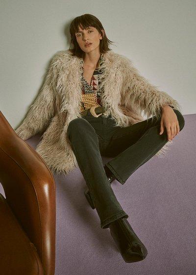 Mongolian style faux fur coat