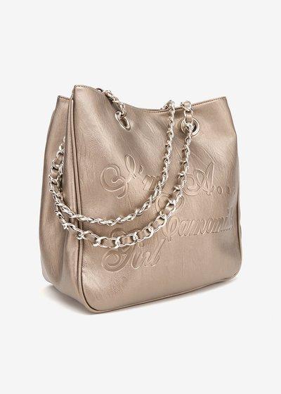 Shopping bag Mini Camo Girl in eco pelle con logo embossed