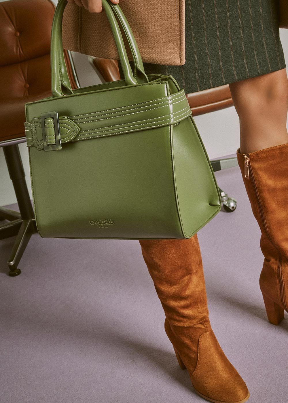 Bliss tote bag with tortoiseshell buckle - Green - Woman