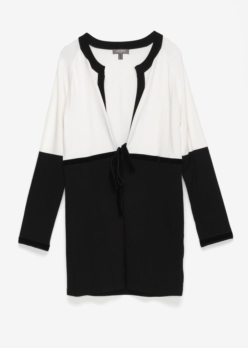 Cardigan bi color Carl - Black / White - Donna