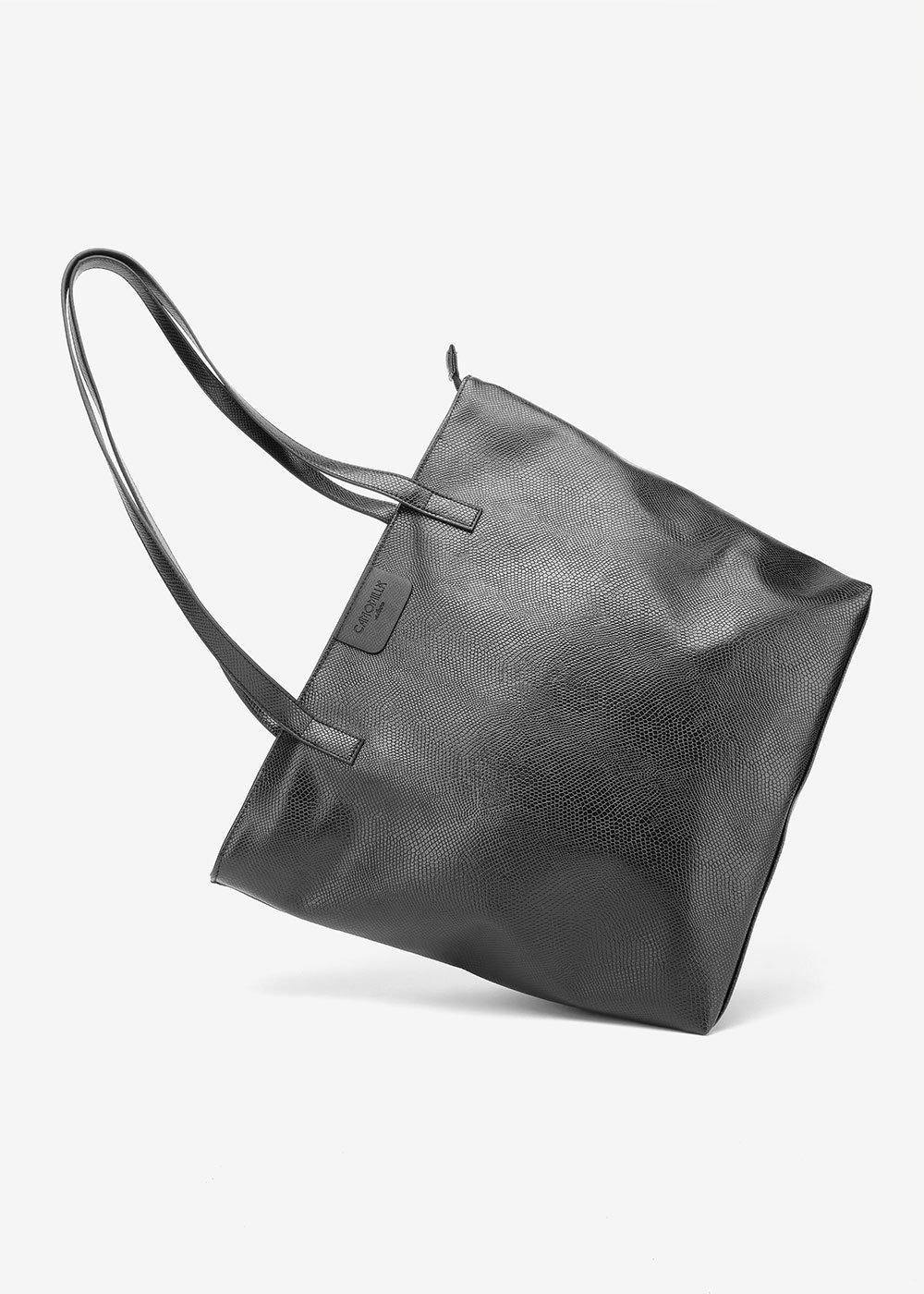 Badia shopping bag with python print - Black - Woman