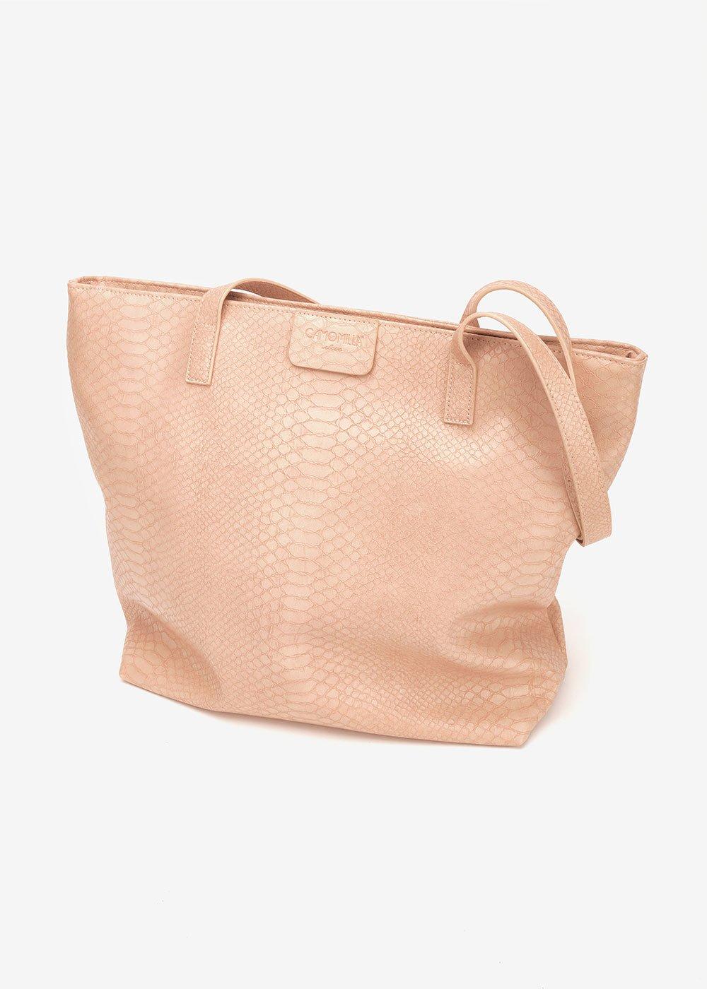 Shopping bag Badia stampa pitone - Nudo - Donna