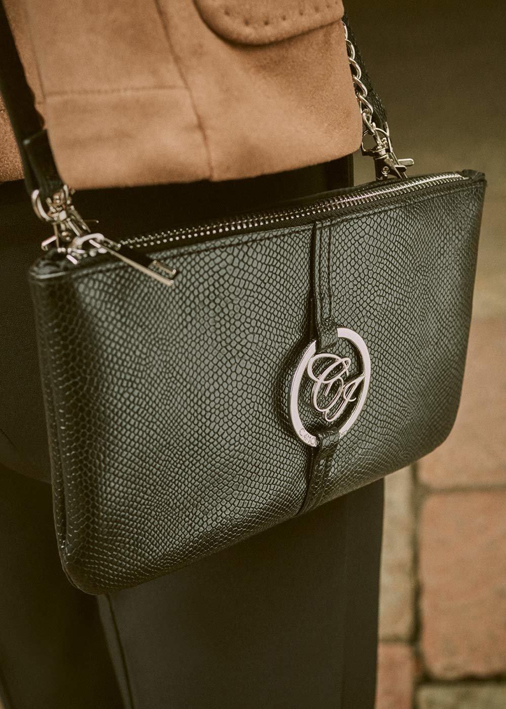 Tonga shoulder bag with python print - Black - Woman