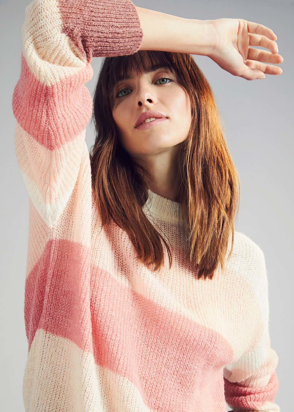 Multicolour striped sweater - Cameo /  Red /  Stripes - Woman