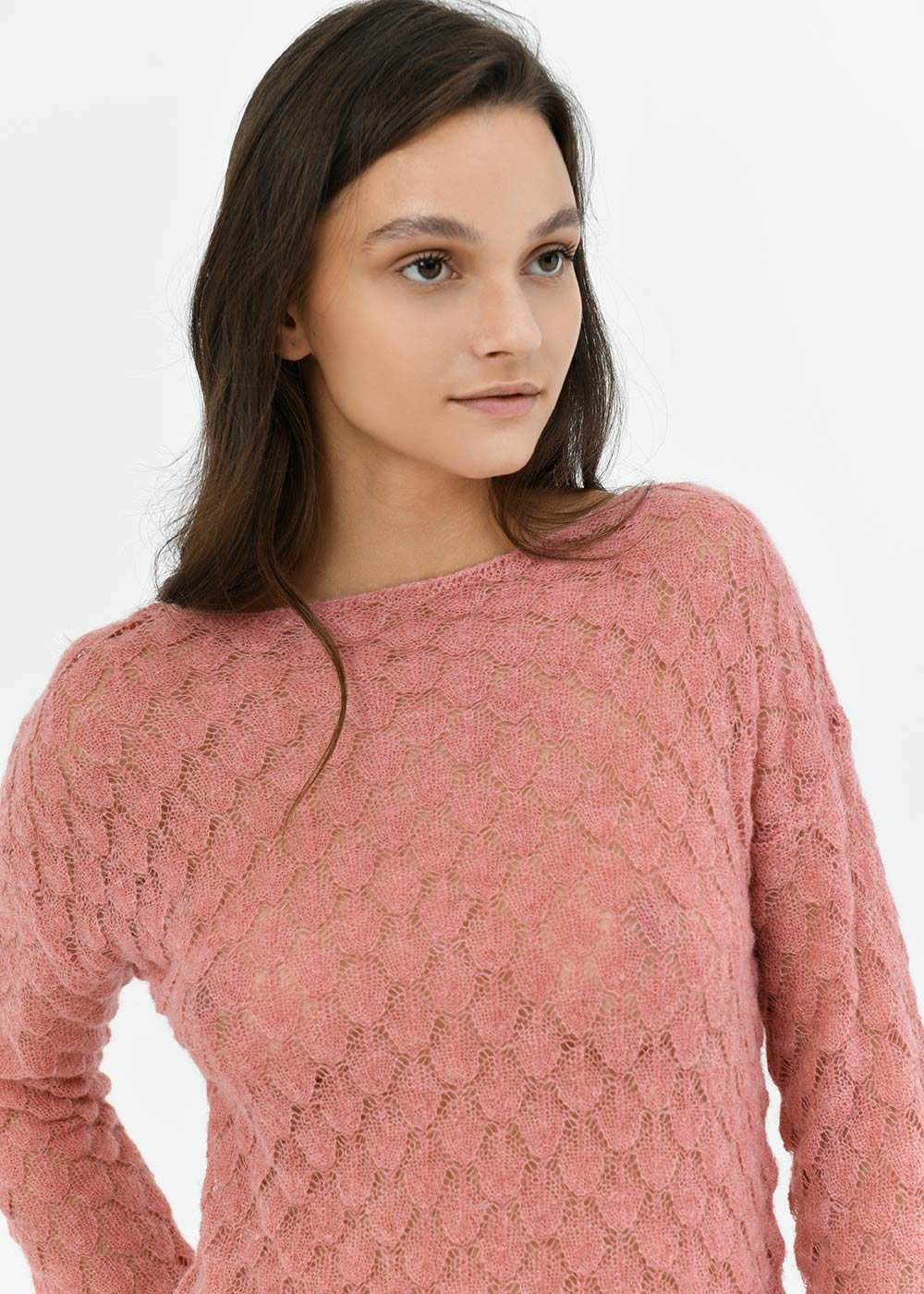 Boat neck sweater with honeycomb stitch - Cammeo - Woman