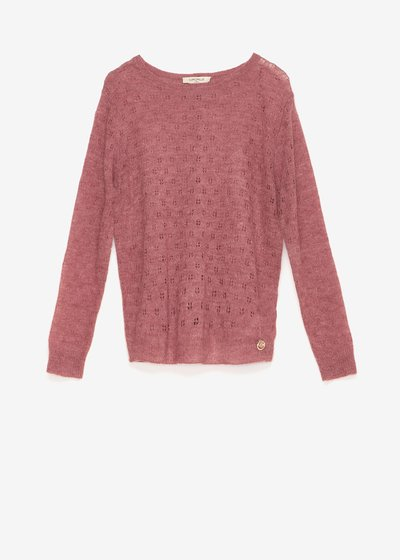 Crew-neck sweater with floral openwork