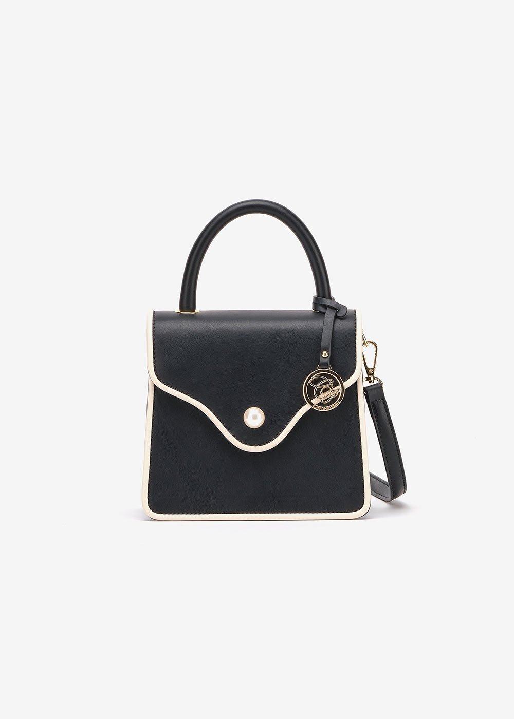Brandy clutch bag with shoulder strap - Black-Beige - Woman